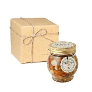 【R発送】ナッツの蜂蜜漬けL(200g) / ナチュラルクラフトボックス(S) + 麻紐リボン + 手提げ袋 バレンタイン ホワイトデー プレゼント 贈り物