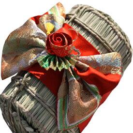 着物 米俵 結婚式 両親 プレゼント 思い出 ウエディング 出生体重で作成米俵の上に着物の飾りを付けられます