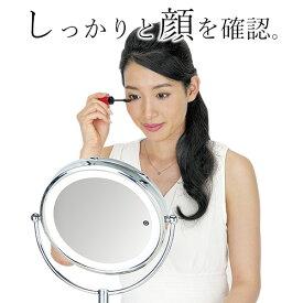 拡大鏡 コイズミ 3色のLEDライト KBE-3100 シルバー | しっかりと顔全体を確認できるサロン仕様の大きめタイプ。 卓上タイプ 丸大 鏡サイズ20cm