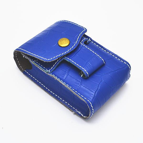 牛革型押しアニマル柄 レザー タバコケース&ジッポライターケース ブルー 青 シガレットケース zippo ライター ベルト通し