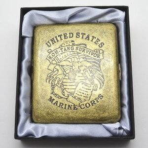アンティーク古美 UNITED STATES MARINE CORPS シガレットケース 85mm 20本 タバコケース たばこケース 煙草ケース シガレット ケース