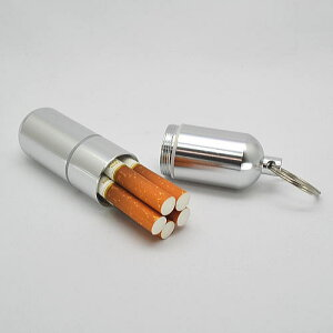 防水 シリンダー タイプ シガレットケース オーリング付 85mm5本用 マッチケース 絆創膏入れ たばこケース シルバーつや消し無地 オーリング付 アイコス