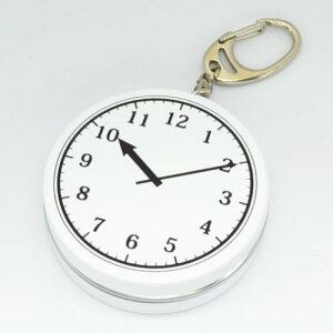 時計 喫煙所 丸型 携帯灰皿 キーホルダー付 ペンギンライター