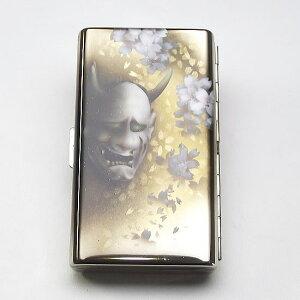 送料無料【エアブラシ】般若&桜舞う シガレットケース 100ミリ 14本用 ロング用 たばこケース 煙草ケース タバコケース