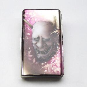 送料無料【エアブラシ】般若&紅葉舞う シガレットケース 100ミリ 14本用 ロング用 煙草ケース たばこケース タバコケース