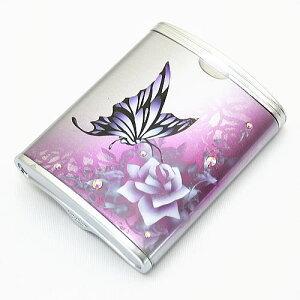 ハニカム型 携帯灰皿 パープル&バタフライ015 エアブラシアート【送料無料】