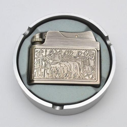 ADMIRAL アドミラル社 アドニス型 オイルライター 銀古美 エジプト柄 アルミダイカスト灰皿付