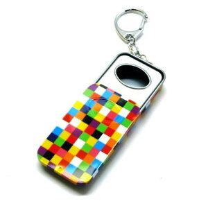 スライド式 携帯灰皿 モザイクカラー柄 ブリキ缶 携帯キーホルダー付 本体7cm