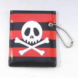 ワンハンドオープン型 携帯灰皿 プリント柄 ポケット灰皿 スカル柄 赤黒