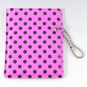 ワンハンドオープン型 プリント柄 携帯灰皿 ポケット灰皿 ドット柄 ピンク&ブラック