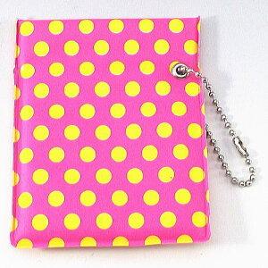 ワンハンドオープン型 プリント柄 携帯灰皿 ポケット灰皿 ドット柄 ピンク&イエロー