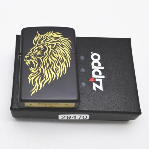 zippo ジッポー 29470 ブラックマット トライバル ライオン