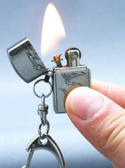 Mini liter oil lighter mobile key ring with メタルビッツ