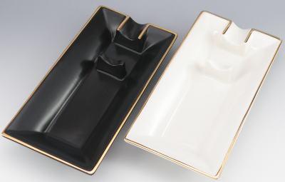 Roland ローランド 陶器 葉巻灰皿 シガーアッシュトレー 1本用 ブラック ホワイト