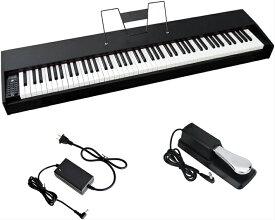 ハンマー 電子ピアノ 88鍵盤 88鍵 デジタルピアノ アクション鍵盤 本物ピアノと同じストローク MIDI ダンパーペダル 譜面立て付属 厚さわずか11cm 練習にぴったり 初心者 大人 子供 お勧め 1年保証