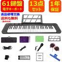 電子キーボード 61鍵盤 日本語表記 電池給電可能 200種類音色 200種類リズム 60デモ曲 マイク ペダル 譜面台 イヤホン…