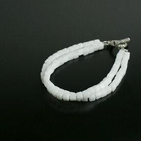 スクエアカット ホワイトジェイド 2連ブレスレット 角カット 天然石 パワーストーン アクセ メンズ アクセサリー 天然石 ホワイトジェード 白