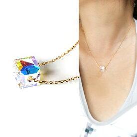 スワロフスキー ネックレス アクセサリー レディース SWAROVSKI キューブカット 大人可愛い 上品 デイリー ネックレス ネックレス 女性 1粒 ネックレス