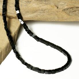 4mm オニキス ネックレス スクエアカット 黒 メンズ シンプル 通販 天然石 パワーストーン ネックレス メンズ