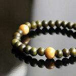 緑檀黄楊トライアングルブレスレット/木製木ウッド数珠腕輪念珠緑りょくだんパワーストーンピラミッド