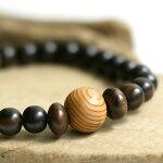 屋久杉エボニー数珠ブレスレット/ウッド木製木腕輪数珠念珠数珠ブレスレットメンズレディース