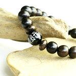 全梵字エボニーブレスレット数珠ブレスレット木製メンズアクセサリーブレスレット黒ウッドブラック木天然石オニキス