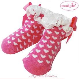 お洒落でキュートな赤ちゃん用ソックス♪Mud Pie/マッドパイ・ハートドット柄フリル&リボン付き靴下【ピンク&ホワイト】 Girl White Hearts On Pink Sock 出産祝い プレゼントにも♪