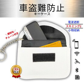 スマートキーケース キーケース 車盗難防止 鍵 ポーチ リレーアタック 鍵 電波遮断 窃盗 対策 スキミング防止 レディース メンズ クレジットカード デビット RFID ケース 防犯グッズ チェーン付 白