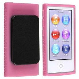 iPod nano 7 デザイン カバー ケース TPU ベルトクリップ付き アイポッドナノ 第7世代 iPod nano 7th フィルム ピンク 2点セット【送料無料】ポイント消化