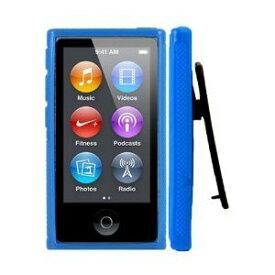 iPodケース 第7世代 クリップ デザイン アイポッド カバー ケース TPU ベルトクリップ付き アイポッドナノ iPodnano 7th 液晶保護 フィルム 付属 BLUE 青 2点セット【送料無料】ポイント消化