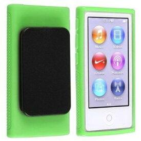 iPod nano 7 デザイン カバー ケース TPU ベルトクリップ付き アイポッドナノ 第7世代 iPod nano 7th フィルム 緑 2点セット【送料無料】ポイント消化