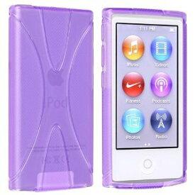 iPod nano 7 デザイン カバー ケース TPU Jelly X Design Case 軽量 アイポッドナノ 第7世代 iPod nano 7th フィルム 紫【送料無料】ポイント消化