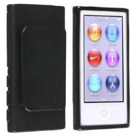 iPod nano 7 デザイン カバー ケース TPU ベルトクリップ付き アイポッドナノ 第7世代 iPod nano 7th フィルム 黒 2点セット【送料無料】ポイント消化