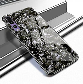Huawei P20 Pro カバー docomo HW-01K ケース ガラス 強化ガラス 高級 大理石 耐衝撃 薄型 軽量 QI 対応 スマホケース 強化 Glass シンプル 黒【送料無料】ポイント消化