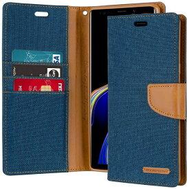 Galaxy Note9 ケース docomo SC-01L au SCV40 SIMフリー ギャラクシーNote9 GOOPSERY スタンド カード ストラップホール TPU デニム ジーンズ ネイビー【送料無料】ポイント消化