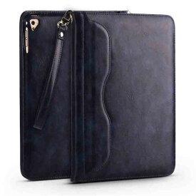 iPad 9.7 ビジネス ケース iPad Air/iPad Air2 対応 出張や持ち運びに便利なカバー ストラップ付属 青【送料無料】ポイント消化