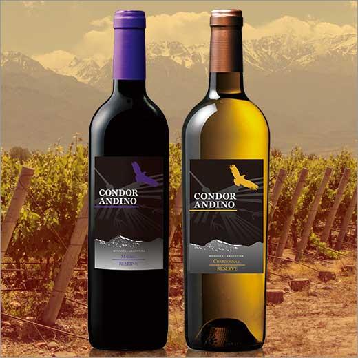 コンドール・アンディーノ・レセルバ赤白飲み比べ2本セット[赤ワイン][白ワイン][赤:フルボディ][白:辛口][ワインセット] 【7779787】