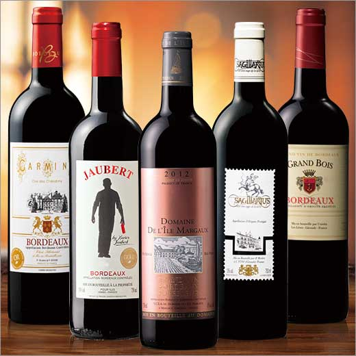 【対象2セット購入で800円OFFクーポン】マルゴー島ワイン&金賞入り!ボルドー赤ワイン満喫5本セット 【7777794】