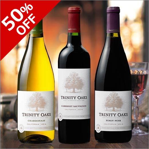 【P5倍】【半額】【50%OFF】トリニティー・オーク品種飲み比べ3本セット[赤ワイン][白ワイン][ワインセット][赤:フルボディ][白:辛口]【7785962】