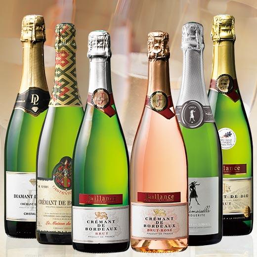 【送料無料】ダイヤモンドトロフィー入り!フランス各地高評価獲得クレマン飲み比べ6本セット [スパークリングワイン][白:辛口:発泡][ワインセット]【7781258】