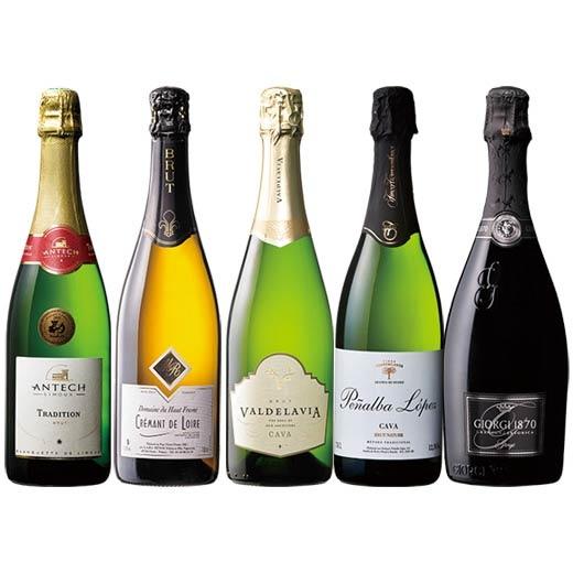 【送料無料】欧州シャンパーニュ製法スパークリングワイン5本セット[スパークリングワイン][ワインセット][白:辛口:発泡] 【7781434】