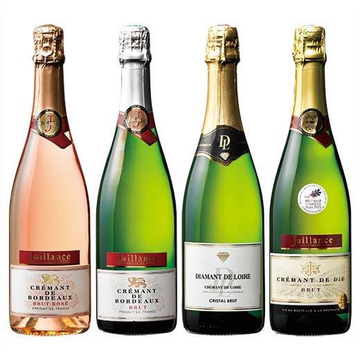 【送料無料】高評価生産者ジャイヤンスの受賞クレマン白・ロゼ飲み比べ4本セット[スパークリングワイン][ワインセット][白:ロゼ:辛口:発泡] 【7776036】