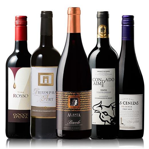 バローロ入り!世界赤ワイン5本セット[赤ワイン][赤:フルボディ][ワインセット] 【7791965】