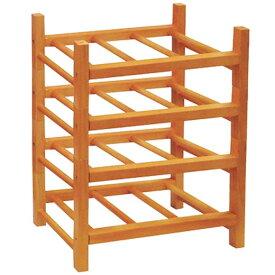 組み立て式木製ワインラック4段【12本用】 【7771239】