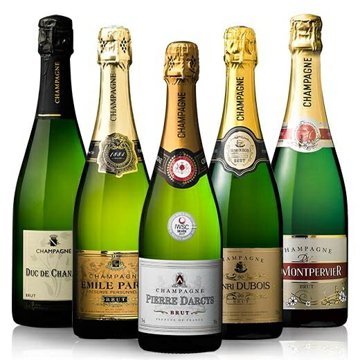 【送料無料】高級辛口シャンパーニュ飲み比べ豪華5本セット 第3弾 [スパークリングワイン][白・辛口・発泡] 【7792093】
