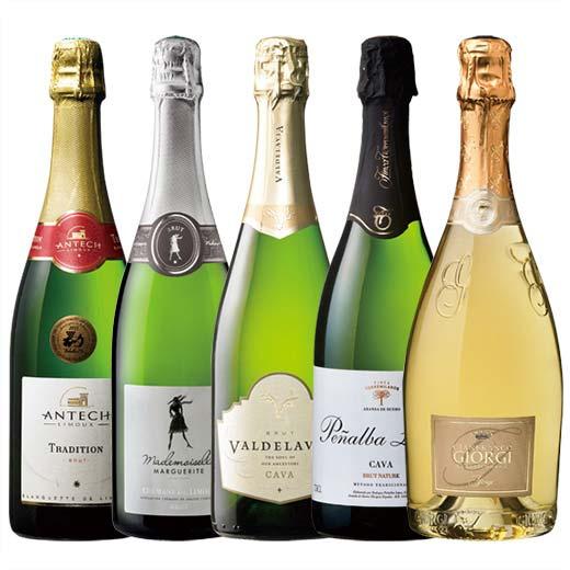 【送料無料】欧州シャンパーニュ製法スパークリングワイン5本セット [ワインセット][スパークリングワイン]【7782016】