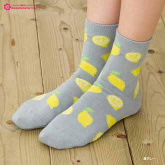 Lemon pattern crew socks (4 colors) ♪ socks short sock Womens socks ladies!