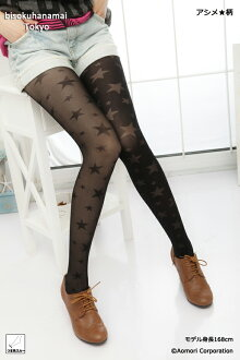 Left Acme ♪ star tights ( toe SureType and black Black ) ♪ 1050 yen buying and selection in ♪ pattern tights pattern pantyhose sheer tights tights stockings pattern ladies!-z fs2gm