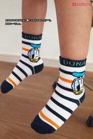 【KIDS】ドナルド柄ロークルーソックス (サイズ15-20cm) ディズニー ドナルドダック Donald Duck 靴下 子供 カワイイ socks Disney