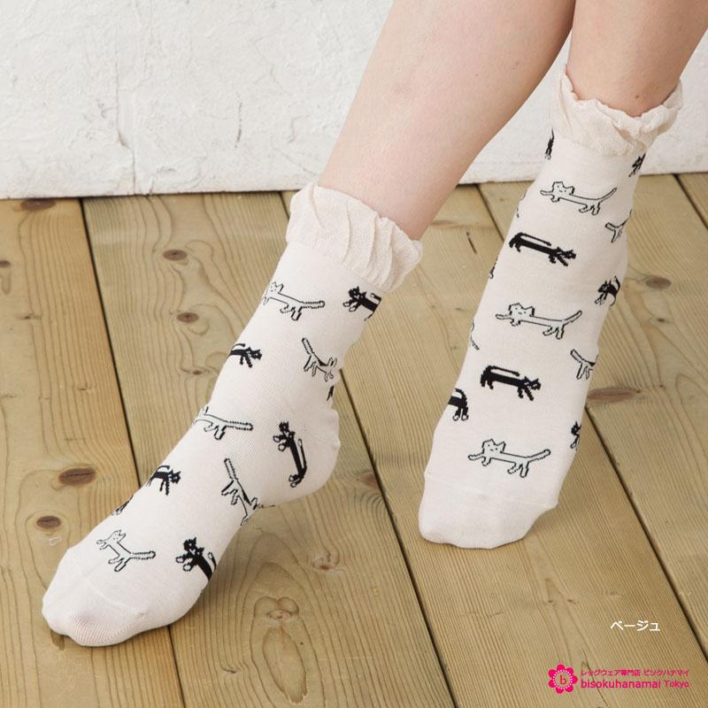 ネコ総柄 クルーソックス (吸汗・UV・口ゴムゆったり・ひんやりサラサラ) 靴下 レディース ショートソックス 猫 cat short socks ladies
